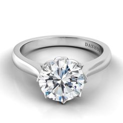 Danhov Classico Handcrafted Diamond Engagement Ring in 14k White Gold