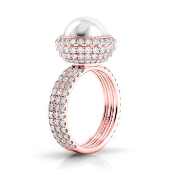 Danhov Trenta Limited Edition Rose Gold and Pearl Diamond Ring in 14k Rose Gold