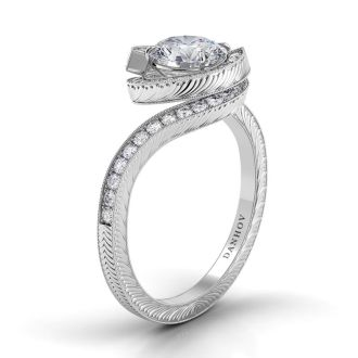 Danhov Abbraccio Vintage Engagement Ring in 14k White Gold