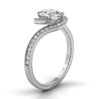 Danhov Abbraccio Swirl Engagement Ring in 14k White Gold