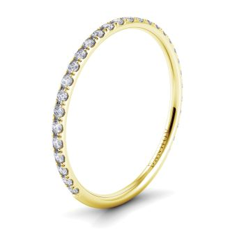 Danhov Classico Yellow Gold Round Diamond Wedding Band for Her in 14k Yellow Gold