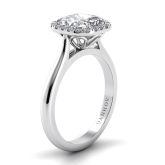 Danhov Classico Knife Edge Asscher Engagement Ring in 14k White Gold