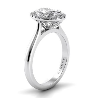 Danhov Classico Knife Edge Oval Engagement Ring in 14k White Gold