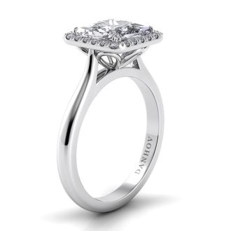 Danhov Classico Single Shank Princess-cut Engagement Ring in 14k White Gold