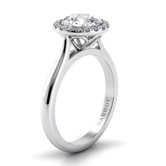 Danhov Classico Halo Engagement Ring in 18k White Gold