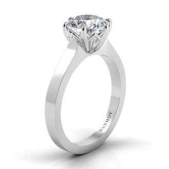Danhov Classico Solitaire Engagement Ring Design in 14k White Gold