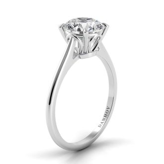 Danhov Classico Solitaire Diamond Engagement Ring in 14k White Gold