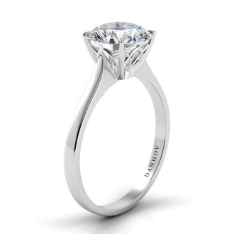 Danhov Classico Single Shank Handcrafted Engagement Ring  in 14k White Gold