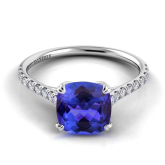 Danhov Classico Cushion Cut Blue Sapphire Diamond Ring in 14k White Gold