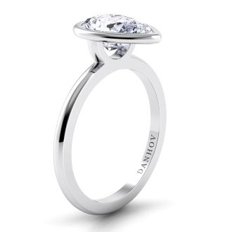 Danhov Per Lei Pear Shaped Engagement Ring in 18k White Gold