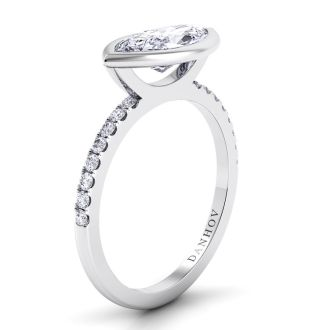 Danhov Per Lei Single Shank Marquise Engagement Ring in 18k White Gold