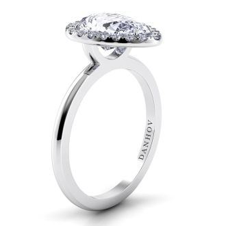Danhov Per Lei Pear Engagement Ring with Halo in 18k White Gold