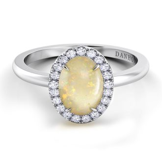 Danhov Per Lei Oval Opal Diamond Ring  in 14k White Gold
