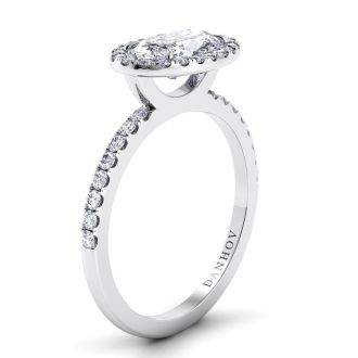 Danhov Per Lei Oval Engagement Ring with Halo in 18k White Gold
