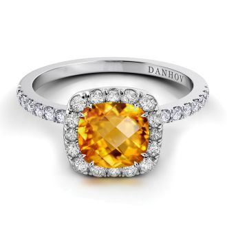 Danhov Per Lei Citrine Diamond Ring in 14k White Gold
