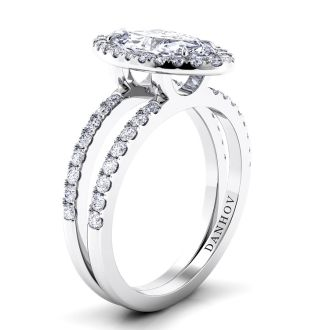 Danhov Per Lei Double Shank Marquise Engagement Ring in 14k White Gold