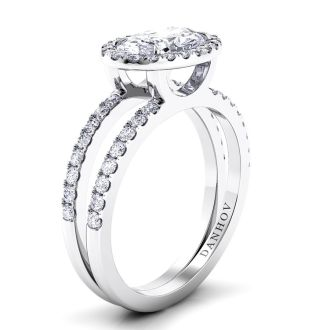 Danhov Per Lei Double Shank Oval Engagement Ring in 14k White Gold