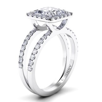 Danhov Per Lei Double Shank Princess Engagement Ring in 14k White Gold