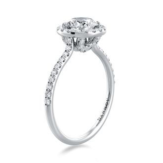 Danhov Per Lei Classic Halo Engagement Ring in 14k White Gold