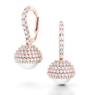 Danhov Trenta Limited Edition Rose Gold and Pearl Diamond Earrings in 14k Rose Gold