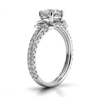 Danhov Solo Filo  Halo Engagement Ring  in 14k White Gold