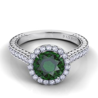 Danhov Tubetto Single Shank Green Tourmaline Diamond Ring in 14k White Gold