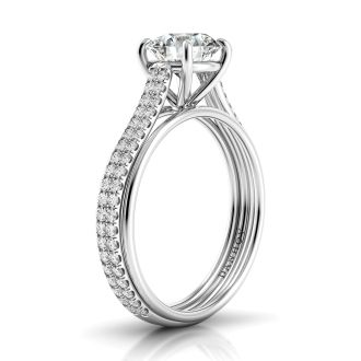 Danhov Unito Handcrafted  Single Shank Double Row Diamond Engagement Ring in 14k White Gold