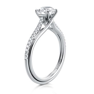 Danhov Unito Triple Shank Engagement Ring in 14k White Gold