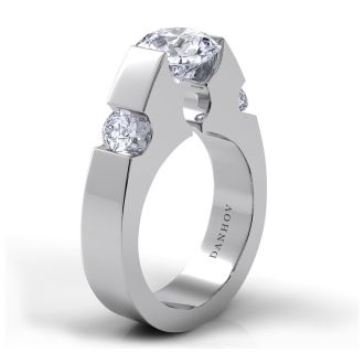 Danhov Voltaggio Single Shank Engagement Ring in 14k White Gold