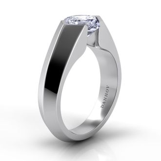 Danhov Voltaggio Knife Edge Princess-Cut Engagement Ring in 14k White Gold