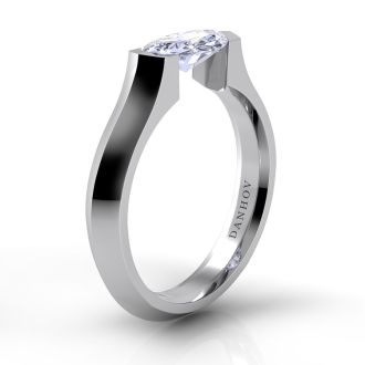 Danhov Voltaggio Knife-Edge Marquise Engagement Ring in 14k White Gold
