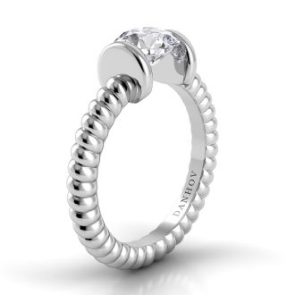Danhov Voltaggio Braided Engagement Ring in 14k White Gold