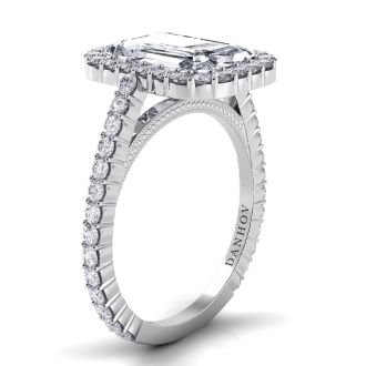 Danhov Carezza Emerald Cut Engagement Ring in 14k White Gold
