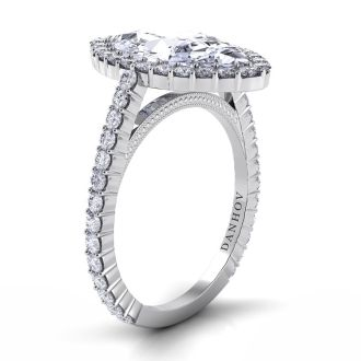 Danhov Carezza Single Shank Marquise Engagement Ring in 14k White Gold