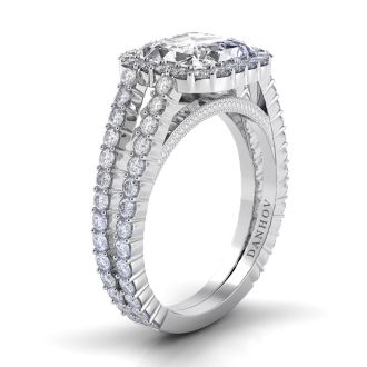 Danhov Carezza Asscher Cut Halo Engagement Ring in 14k White Gold