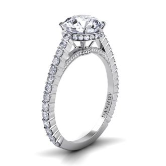 Danhov Carezza Handcrafted Engagement Ring in 14k White Gold