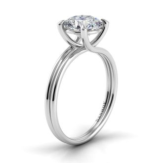 Danhov Eleganza Double Shank Engagement Ring in 14k White Gold