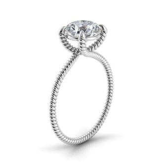 Danhov Eleganza Braided Engagement Ring in 14k White Gold