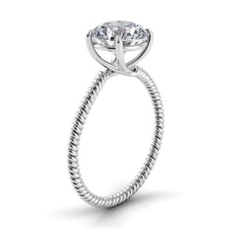 Danhov Eleganza  Braided  Designer Engagement Ring in 14k White Gold