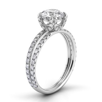 Danhov Solo Filo Double Shank Engagement Ring in 14k White Gold
