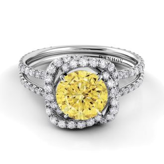 Danhov Solo Filo Yellow Diamond Engagement Ring in 14k White Gold