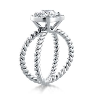 Danhov Eleganza  Unique Design Engagement Ring with Halo in 14k White Gold