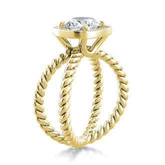 Danhov Eleganza  Unique Design Engagement Ring with Halo in 18k Yellow Gold