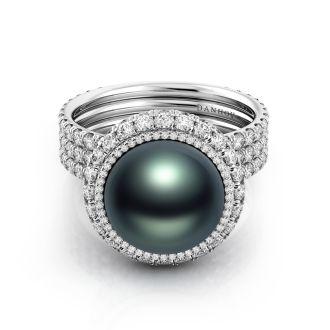 Danhov Trenta Limited Edition Black Pearl Diamond Ring in 14k White Gold