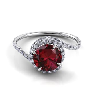 Danhov Abbraccio  Ruby Swirl Diamond Ring in 14k Rose and Gold