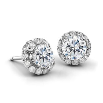 Danhov Abbraccio Swirl Diamond Earrings in 14k White Gold