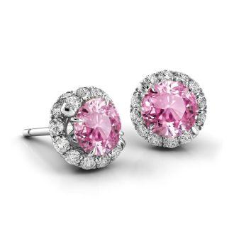 Danhov Abbraccio Swirl Pink Sapphire Diamond Earrings in 14k White Gold