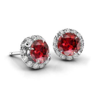 Danhov Abbraccio Swirl Ruby Diamond Earrings in 14k White Gold