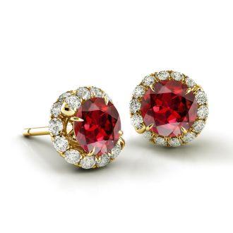 Danhov Abbraccio Ruby Diamond Earrings Swirl Ruby Diamond Earrings in 14k Yellow Gold