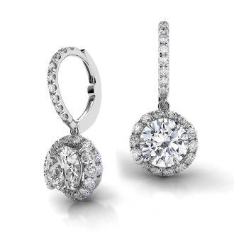 Danhov Abbraccio Swirl Diamond Drop Earrings in 14k White Gold